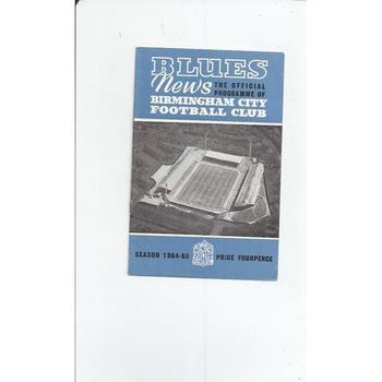 Birmingham City v Blackburn Rovers 1964/65