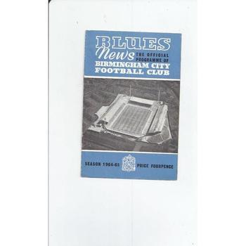 Birmingham City v Burnley 1964/65