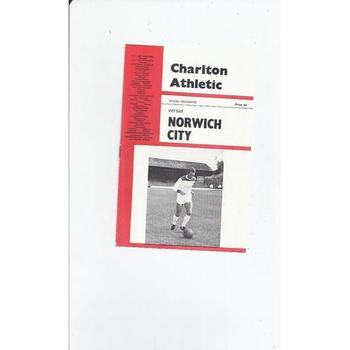 1965/66 Charlton Athletic v Norwich City Football Programme April