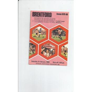 1979/80 Brentford v Wimbledon Football Programme