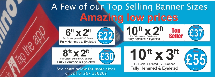 PVC Banners Carmarthen, Cardiff, Swansea, London, all areas covered