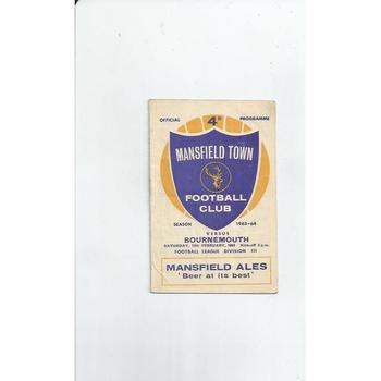 1963/64 Mansfield Town v Bournemouth Football Programme