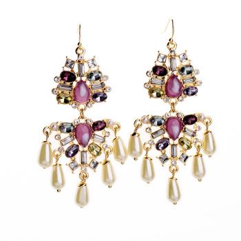 Purple Gem Drop Earrings