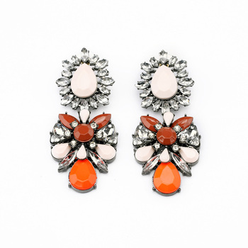 Orange Gem Drop Earrings