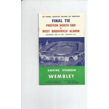 1954 Preston v West Bromwich Albion FA Cup Final Football Programme + Press cuttings
