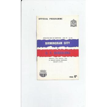 Birmingham City v Barcelona Fairs Cup Final 1960