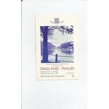 1963 England v Wales U23 Football Programme @ Bristol City