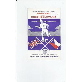 England v Czechoslovakia U23 Football Programme 1965 @ Leeds United