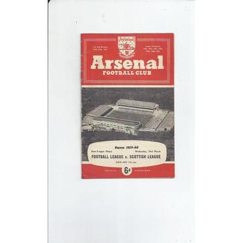 Football League v Scottish League Football Programme 1959/60 @ Arsenal
