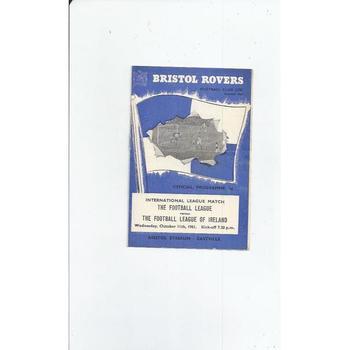 Football League v League of Ireland Football Programme 1961 @ Bristol Rovers
