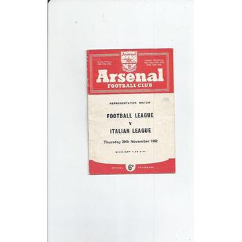 Football League v Italian League Football Programme 1962/63 @ Arsenal