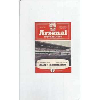 England v Football League  Football Programme 1962/63 @ Arsenal