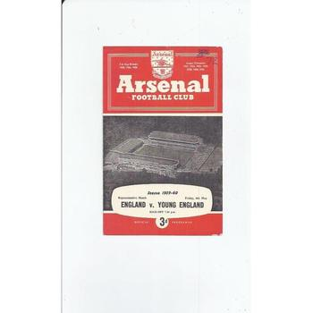 England v Young England Football Programme 1959/60 @ Arsenal