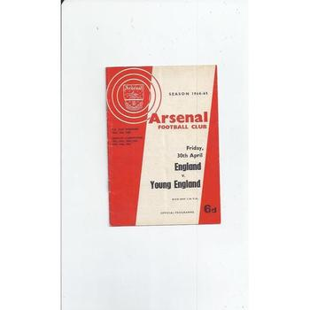 England v Young England Football Programme 1964/65 @ Arsenal
