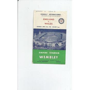 1955 England v Wales Schools International Football Programme