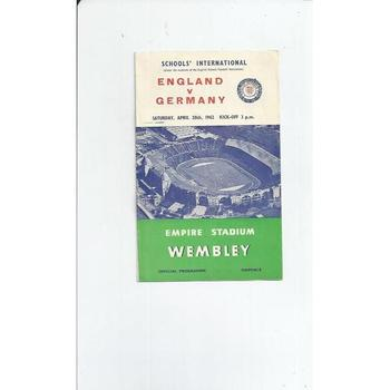 England v Germany Schools Football Programme 1962