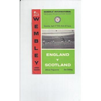 1965 England v Scotland Schools International Football Programme
