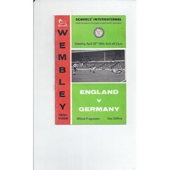 England v Germany Schools Football Programme 1966