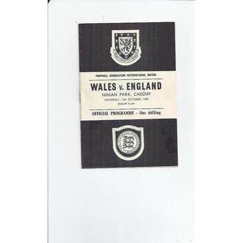 Wales v England Football programme 1959 at Cardiff