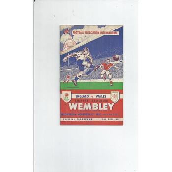 England v Wales 1952 + Song Sheet