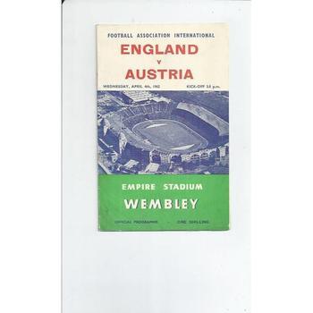 England v Austria 1962