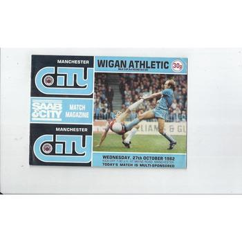 1982/83 Manchester City v Wigan Athletic Milk Cup Football Programme