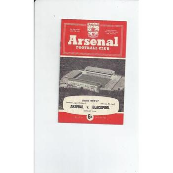 1960/61 Arsenal v Blackpool Football Programme