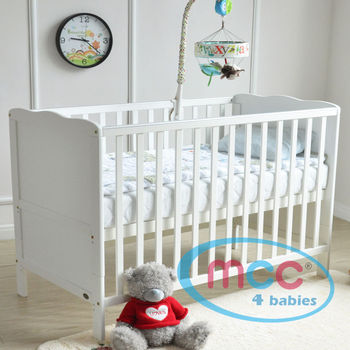 "Wooden Baby Cot Bed Orlando With 3"" Water repellent Mattress 120cm x 60cm"