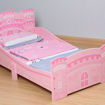 Girls pink castle princess toddler bed with 3 mattress mcc trading ltd - Princess bed for toddler girl ...