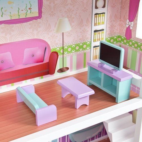 Wooden Kids Doll House With Furniture U0026 Staircase