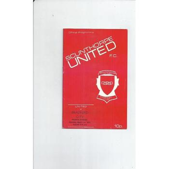 1974/75 Scunthorpe United v Bradford City Football Programme