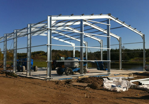 Steel Frame Building Kits : Steel framed garage kit portal frame building kits