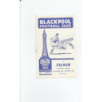 1962/63 Blackpool v Fulham Football Programme
