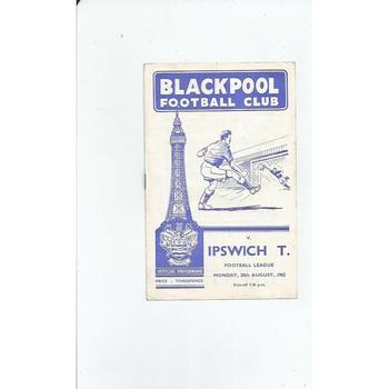 1962/63 Blackpool v Ipswich Town Football Programme