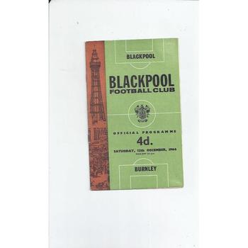 1964/65 Blackpool v Burnley Football Programme