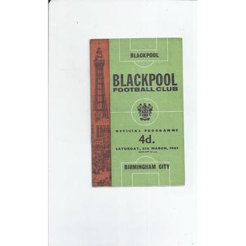1964/65 Blackpool v Birmingham City Football Programme