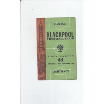1964/65 Blackpool v Leicester City Football Programme