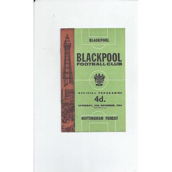 1964/65 Blackpool v Nottingham Forest Football Programme