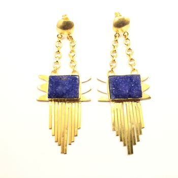 Drusy Stone Tassel Earrings