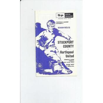 1972/73 Stockport County v Hartlepool United Football Programme