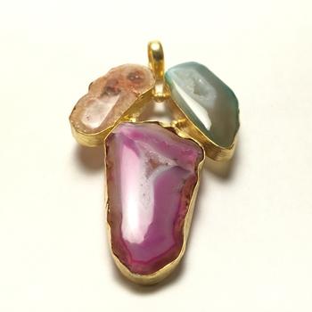 3 Stone Drusy Pendant