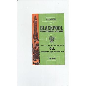 1966/67 Blackpool v Fulham League Cup Football Programme