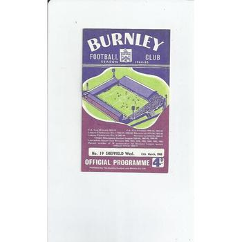 1964/65 Burnley v Sheffield Wednesday Football Programme
