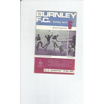 1967/68 Burnley v Sheffield Wednesday Football Programme