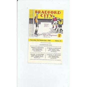 1960/61 Bradford City v Notts County Football Programme