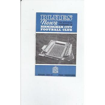 1960/61 Birmingham City v Leicester City Football Programme