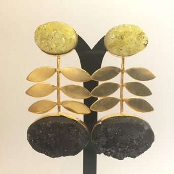 2 Stone Druzy Agate Earrings