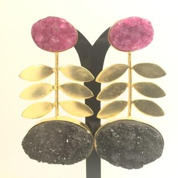 2 Stone Druzy Agate Earrings