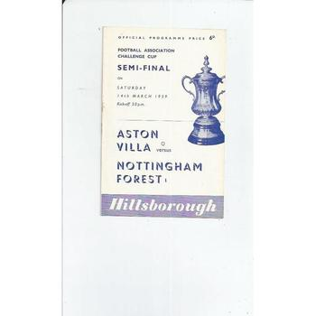 1959 Aston Villa v Nottingham Forest FA Cup Semi Final Football Programme @ Hillsborough