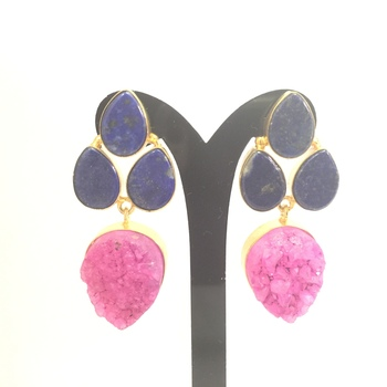 Druzy and Prehanite Earrings
